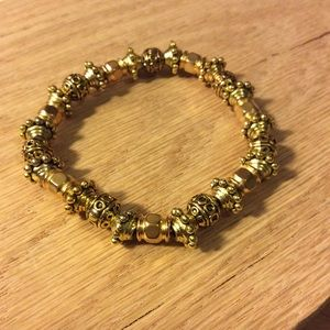 Marlyn Schiff gold bead stretch metal bracelet